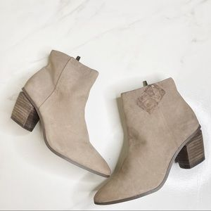 Vince Camuto Nubuck Pointy Leather Booties 7.5